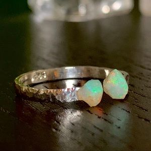 Twin Ethiopian Raw Opal Adjustable Ring Silver